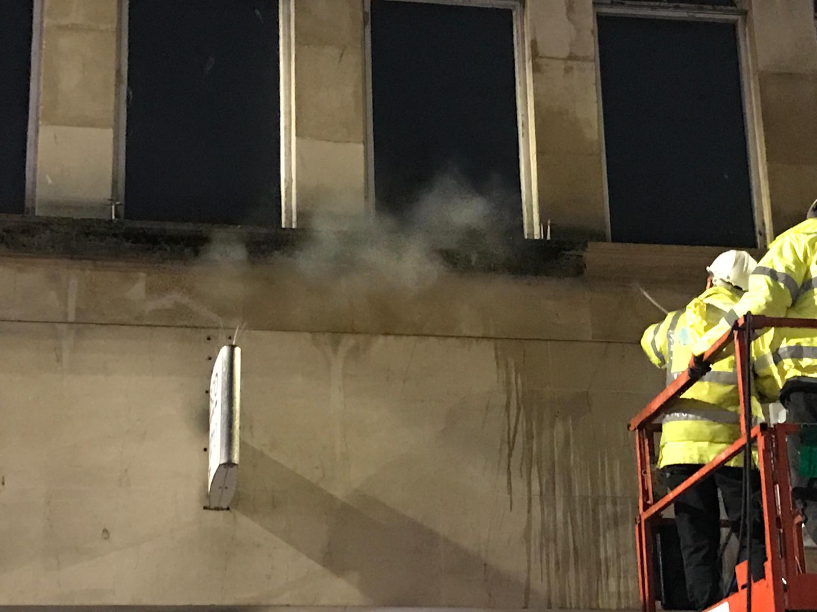 Overnight town centre façade cleaning